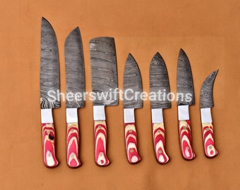 Chef set of 7 knives, handmade knives / chef knives set / Damascus chef knives / Damascus chef set / personalized knife / chef set
