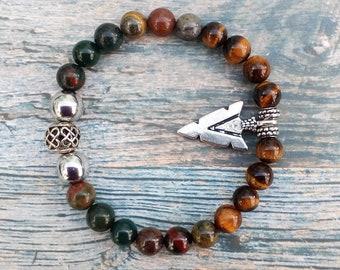 Warrior Bracelet - Father's Day, gift, Men, boyfriend, Courage, Strength, Protection, Power, Tiger Iron, Bloodstone, Tigers Eye & Hematite