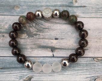 Christian Devotion Gemstone bracelet with Sterling silver Affirmation Bead, Garnet, Bloodstone, Quartz & Silver Hematite