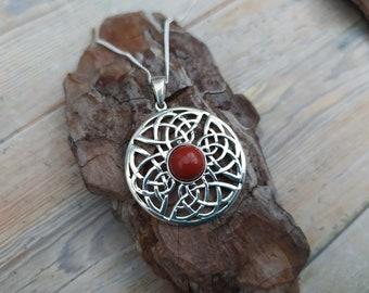 Celtic Shield Red Jasper, (Aries Birthstone), or Amethyst (Pisces birthstone) Sterling silver pendant,