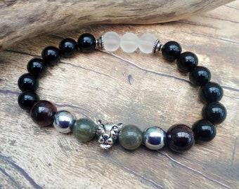 Black Jaguar/Panther Shamanic Bracelet with Garnet, Labradorite, Black Onyx, Frosted Quartz & Silver Hematite. Unisex. Father's Day gift.