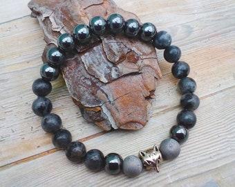 Silver Fox bracelet - Father's Day gift, Husband, Boyfriend, Son. Virility & Wisdom. With Larvikite, Hematite and silver druzy beads.