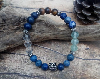 Student Bracelet with Owl - Son, Daughter, Friend gift. *Focus, *Clarity, *Discipline *Concentration. Crystals for Knowledge and Focus.