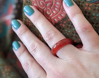 Carnelian band rings - Leo/August  birthstone. *Courage *Power *Protection *Love *Fertility