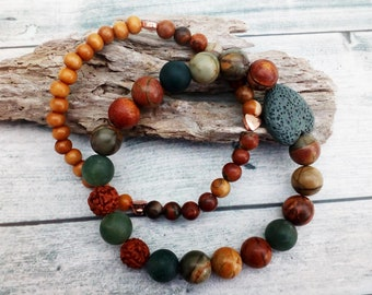 Autumn Seasonal Colours bracelet Set - 2 bracelets. Picasso Jasper, Frosted Moss Agate, Rudraksha seeds and Lavastone. 10mm beads.