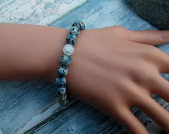 Mountain lover Bracelet with K2 Stone and crackle Quartz, Climber Gift. For achievement and higher awareness.