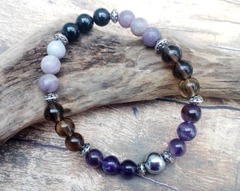 Depression Support bracelet - With EFT Tapping Therapy Script, Lepidolite, Amethyst, Smoky Quartz and Hematite