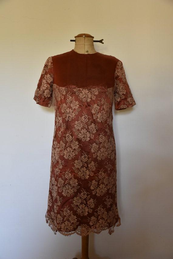 Vintage hand sewn lace dress - image 1