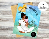 Black Mother's Day Card- First Mother's Day, Newborn, Son, Daughter