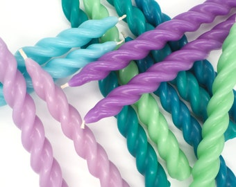 Pair of Colourful Beeswax Twist Candles / Spiral Tapered Candles  / Dinner Candles   Blue   Green   Purple   Turquoise