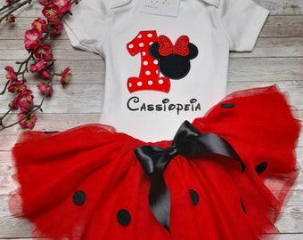 Minnie Mouse birthday Bodysuit. 1st birthday Disney outfit. Baby girl first birthday tutu. Birthday outfit 1 2 years