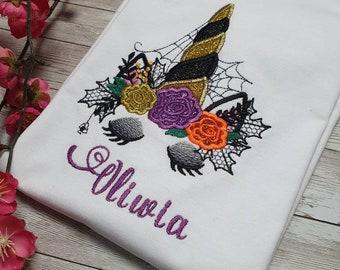Unicorn shirt Halloween. Witch unicorn for girls. Children Tshirt. Embroidery Gift Tshirt