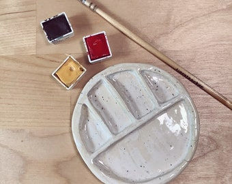 B-Grade Ceramic Palette for Watercolors and Gouache - 5 Mixing wells - Palette made of Clay - Small Size