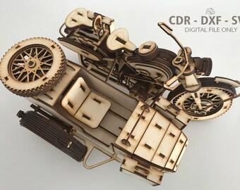Digital File, BMW R75 Sahara 1943, Wooden 3d Model, 3D Puzzle, Laser Cut Template, CDR, Wooden Constructor, Gift