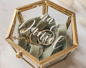 Glass ring box with chain, personalized   stylish ring box in gold   Stickers for Ringbox
