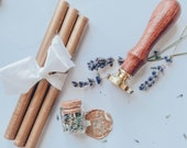 Seal stamp with wax rods (old/antique gold) and lavender flowers