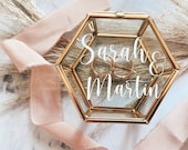 Ring box made of glass, personalized   stylish ring box in gold   Stickers for Ringbox   Corona Wedding