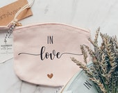 Cosmetic pouch - Mini Me- in love- hearts- for your best friend / gift / bag / cosmetic pouch / birthday / groomswoman