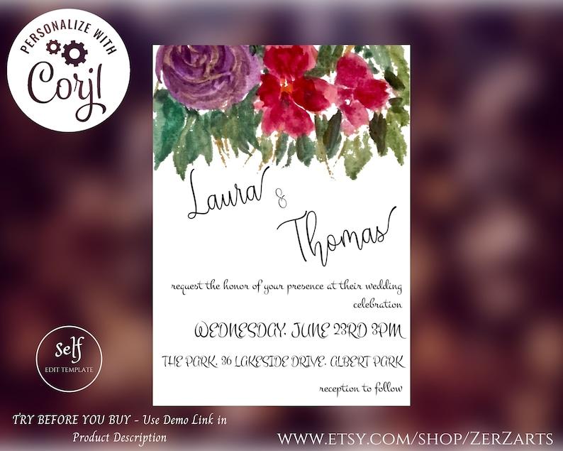Red Floral Wedding Template Set Printable Minimalistic Digital Print Corjl Editable Invitation Rsvp Details Card TRY BEFORE You BUY