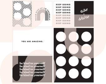 Self Care (b/w) | printable card set