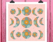 Lunar Phase Moon Art Print Pink Celestial Space Illustration Wall Gallery Zodiac Nursery Botanical Print Flower Art Square