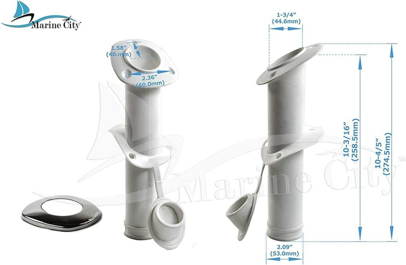 Marine City 30 Degree White Nylon Flush Mount Rod HolderU.V 4 Pcs Stabilized with Cap Cover and 316 Stainless Steel Gasket