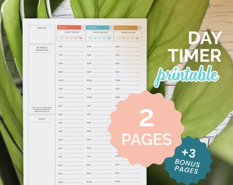 Day Planner, Day Timer, Work Planner, Printable Day-Timer, Daily Planner, Mood Tracker