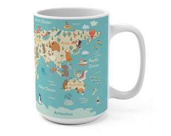 Collectable Ceramic 330ml Retro Design World Map Nice Gift Mug Cup