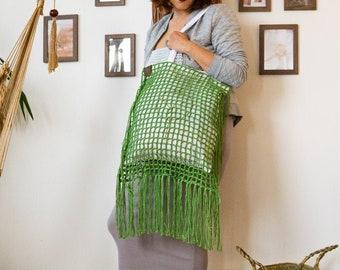 Handmade crochet Tote bag   King of the jungle