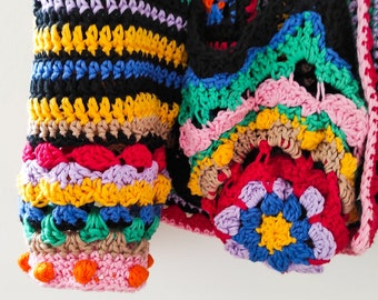 Colorful Crochet Bomber Jacket