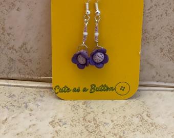 Lilac petals handmade dangle earrings