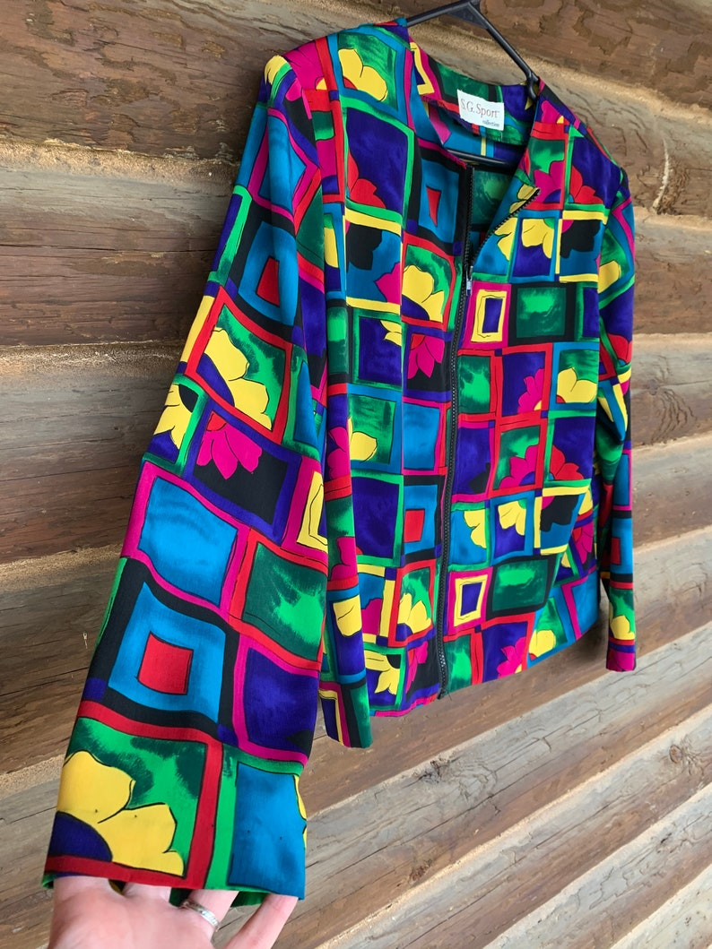 80s Color Block Blouse  80s vintage groovy shirt  Floral bright long sleeve