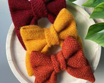 Autumn/Fall. TWEED Tie on bandanas, Over the collar bandanas, Bow ties, Sailor bows, Scrunchies. for dogs & cats. dog moms.