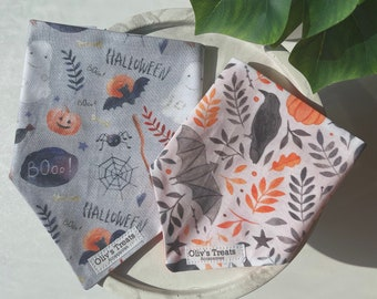 Halloween / Autumn / Fall. Tie on bandanas, Over the collar bandanas, Bow ties, Sailor bows, Scrunchies. for dogs & cats. dog moms.