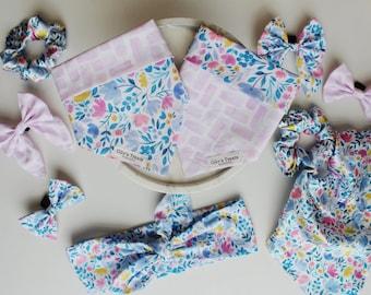 Tie on bandanas, Over the collar bandanas, Neckerchief, Bow ties, Sailor bows, Scrunchies, Scarf scrunchies, Head ties. dogs & cats