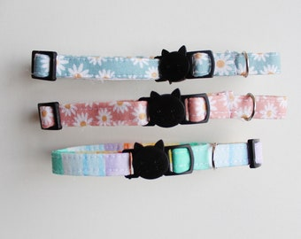Cat collars with safe release buckle. ( adjustable + D ring for bells or tags ) breakaway cat collar / breakaway kitten collar