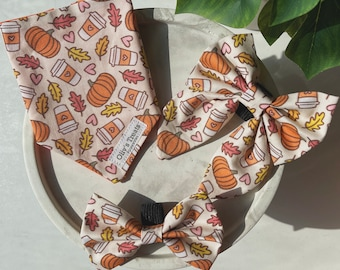 Autumn/Fall. Tie on bandanas, Over the collar bandanas, Bow ties, Sailor bows, Scrunchies. for dogs & cats. dog moms.