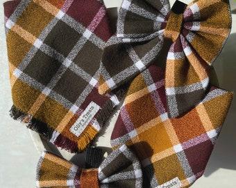 Autumn/Fall. Tie on bandanas, Over the collar bandanas, Bow ties, Sailor bows, Neckerchief, Scrunchies. for dogs & cats. dog moms.