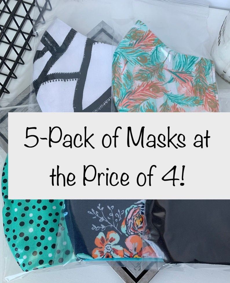 Pack of 5 Face Masks Washable Reusable Reversible Fitted image 0