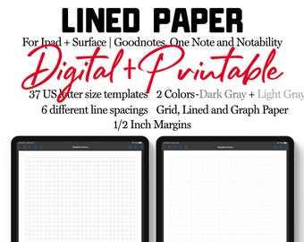 Digital Note Paper Template   Goodnotes, Notability, One Note   Lined, Dotted, Grid Patterns   Letter sized