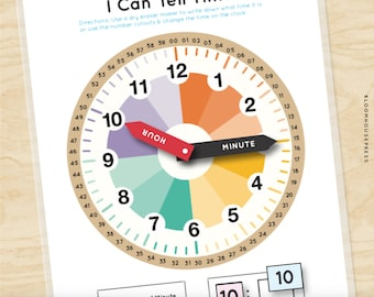 Montessori clock Analog to digital clock learning kit Learn to tell time wooden clock homeschool clock Telling time Learning clock
