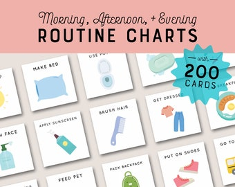 Daily Visual Routine Chart with Cards Morning Afternoon Evening Schedule for Kids Toddler Editable Printable Rhythm Chore Chart Pictures