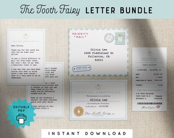 Tooth Fairy Letter Kit Bundle Mini Set Printable Editable Certificate Receipt Envelope Personalized Kids PDF