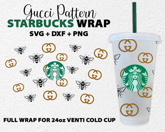 Gucci Inspired Full Wrap For Starbucks Cup Svg Bee Gucci Logo Etsy