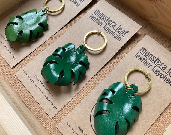 Monstera Leaf Leather Keychain