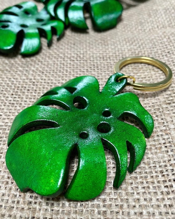 Monstera Leaf (with holes) Leather Keychain