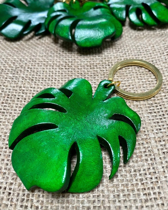 Monstera Leaf Leather Keychain