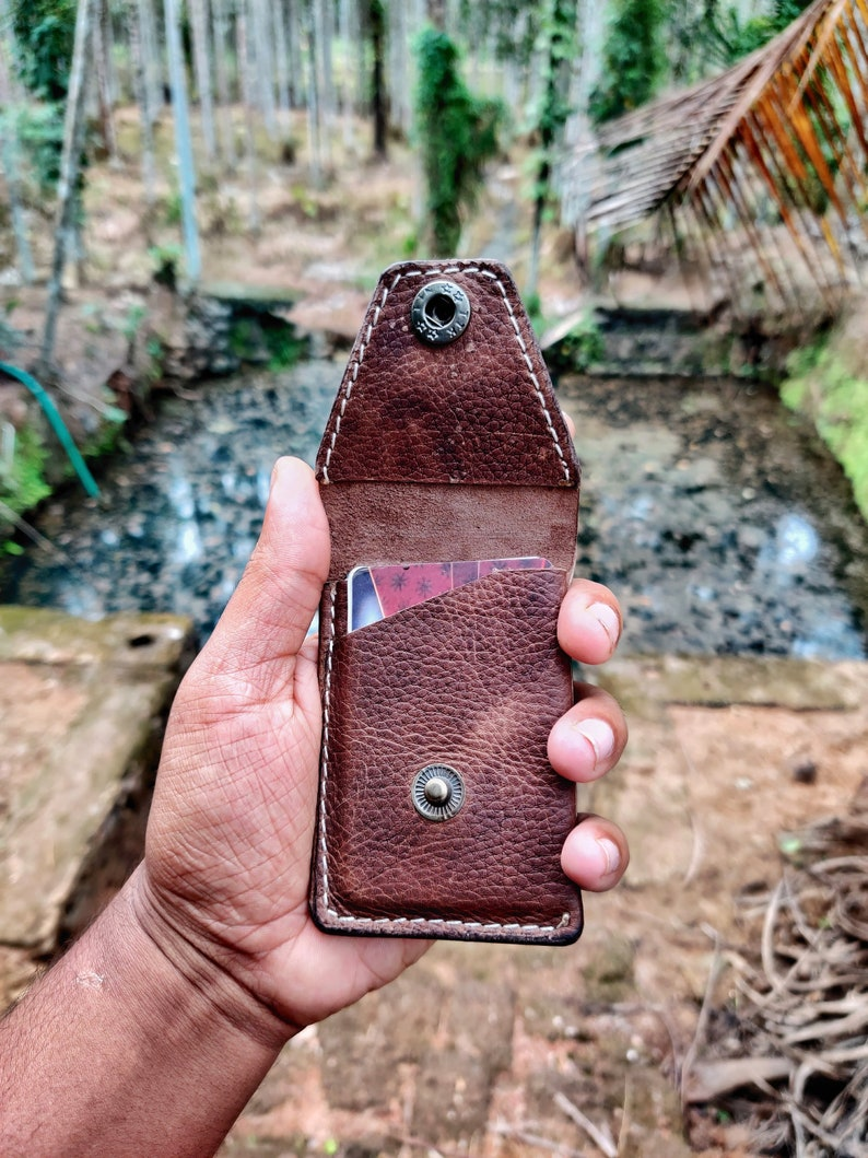 leather card wallet  with cash compartment