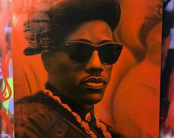 "Nino Brown New Jack City Original Graffiti Painting Street Art Hip Hop 30"" x 40"" x 1.25"" Oil on Canvas Portrait"