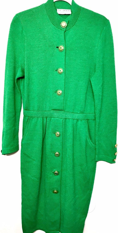 ST JOHN Collection Santana Knit Green & Gold Dress